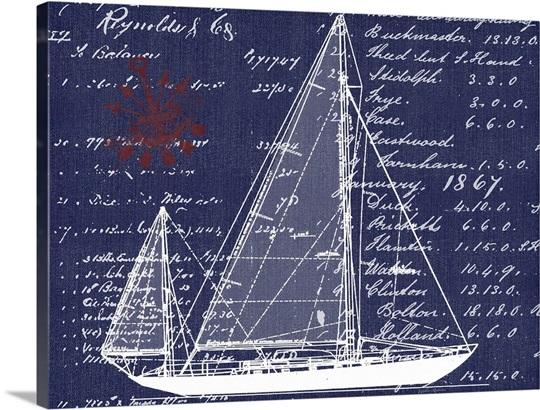 Blueprint Wall Art schooner blueprint denim i wall art, canvas prints, framed prints