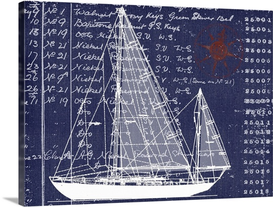 Schooner blueprint denim ii wall art canvas prints framed prints schooner blueprint denim ii malvernweather Image collections