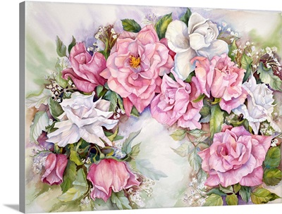 Arch Of Pink and White Roses