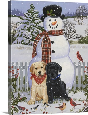 Backyard Snowman with Friends