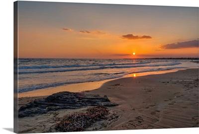 Beach scene with sunset