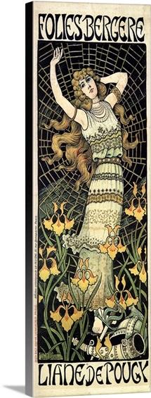 Berthon Folies Bergere 1896 - Vintage Cabaret Advertisement