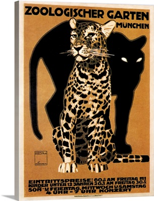 Big Cats at the Munchen Zoo - Vintage Animal Advertisement