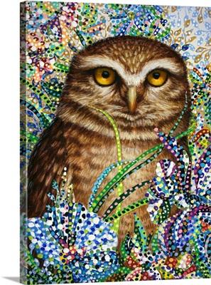 Burrowing Owl in Flowers