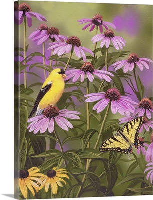 Butterfly And Finch Amongst Flowers