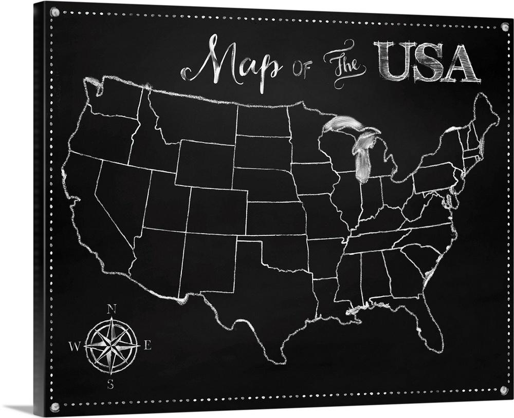 Chalkboard US Map Wall Art Canvas Prints Framed Prints Wall