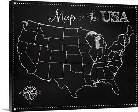 Chalkboard US Map Wall Art Canvas Prints Framed Prints Wall - Framed us map