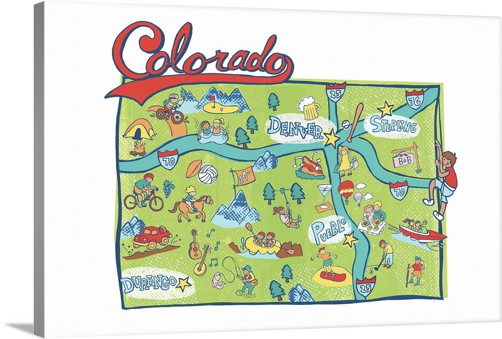 Colorado Map Art.Colorado Map Wall Art Canvas Prints Framed Prints Wall Peels