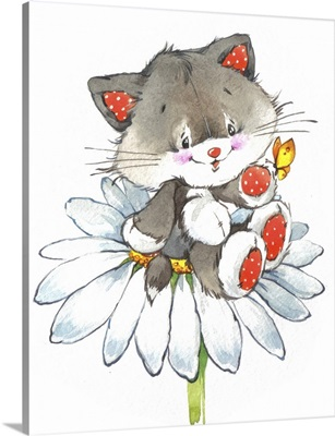 Cute Kitten on a White Flower