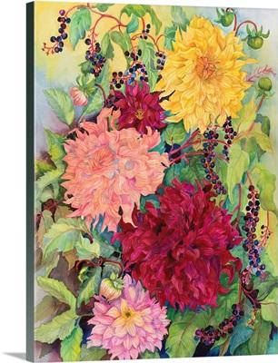 Dahlias And Wild Berries