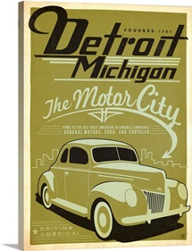 Detroit, Michigan: The Motor City - Retro Travel Poster