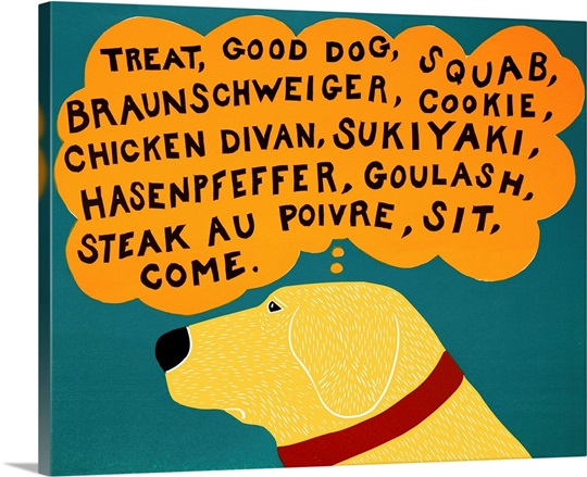 Dogs can only learn a few words yellow Wall Art, Canvas Prints ...