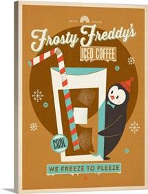 Frosty Freddy's Iced Coffee - Retro Poster