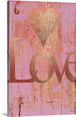 Gold Love and Heart on Pink