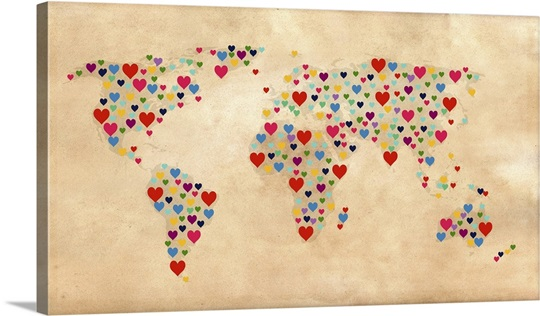 Heart map of the world parchment background wall art canvas heart map of the world parchment background canvas gumiabroncs Image collections