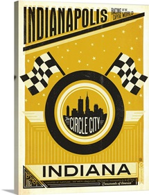 Indianapolis, Indiana: Circle City - Retro Travel Poster