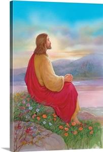 Jesus Sitting On A Rock Praying Wall Art Canvas Prints