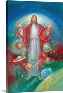 Jesus With His Arms Open Wide And The Planets All Around