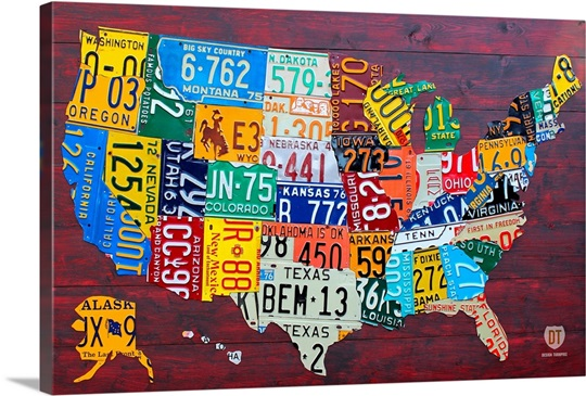 License Plate Map USA Large Wall Art Canvas Prints Framed Prints - License plate usa map