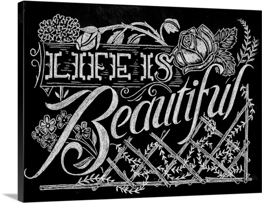 Life Is Beautiful - Chalkboard Art Wall Art, Canvas Prints, Framed ...
