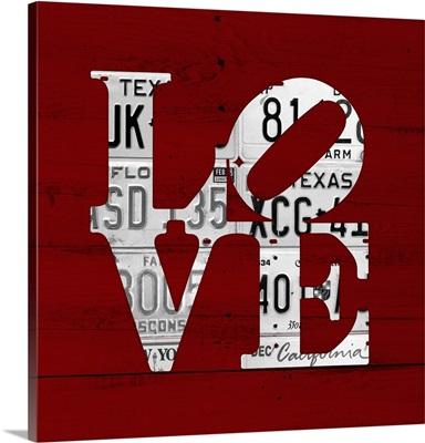Love Word Art License Plates