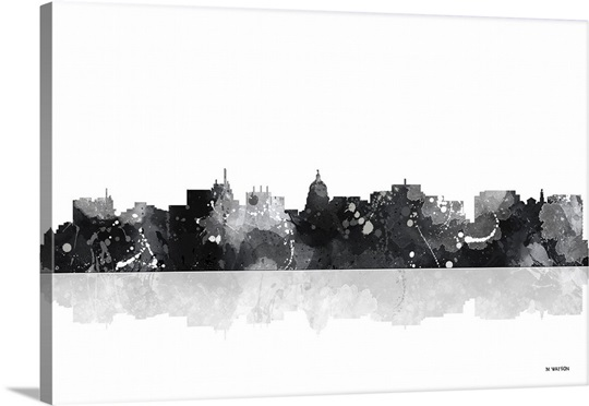 madison wisconsin skyline bw i wall art canvas prints framed