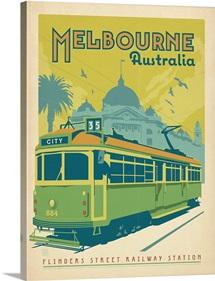 Melbourne, Australia - Retro Travel Poster