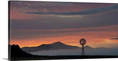 Mountains and Windmill