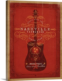 Nashville, Tennessee: Where Music Lives and Breathes - Retro Travel Poster