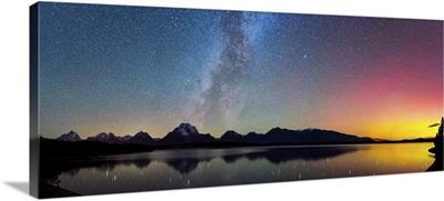 Northern Lights over Jackson Lake Pano