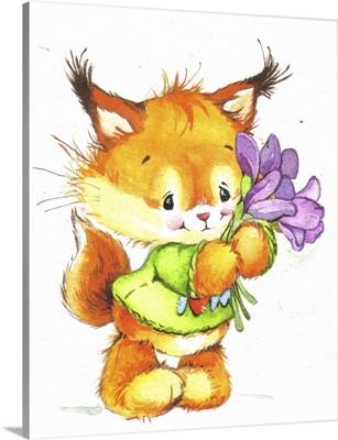 Orange Fox with Purple Foxgloves