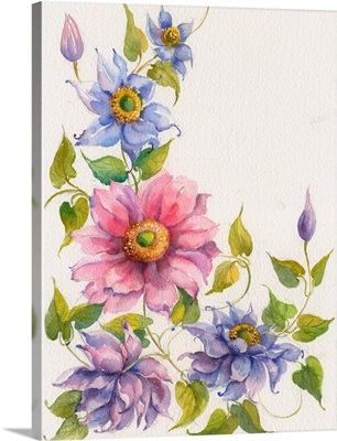 Pink Flower with Blue and Purple Flowers