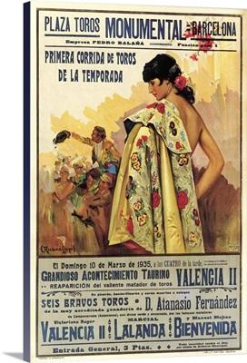 Plaza de Toros, Barcelona - Vintage Entertainment Advertisement
