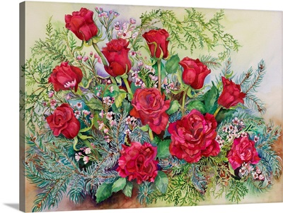 Red Roses With Evergreens