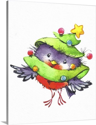 Robin wrapped in a Christmas Tree