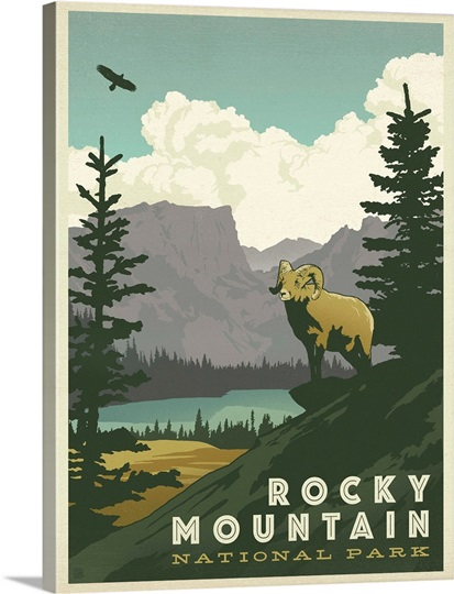 Rocky Mountain National Park Retro Travel Poster Wall