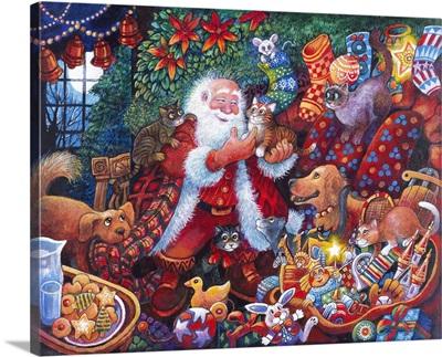 Santa and Dog and Kitten