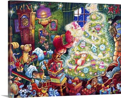 Santa and Glowing Tree