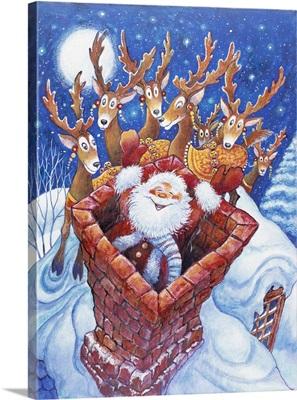 Santa at the top of the Chimney