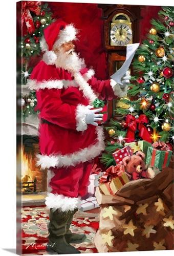 Santa Checking List Wall Art, Canvas Prints, Framed Prints, Wall ...