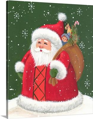 Santa holding a sack of toys