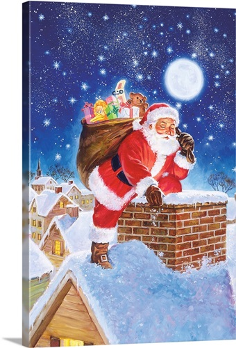 Santa On Rooftop Wall Art, Canvas Prints, Framed Prints, Wall Peels ...
