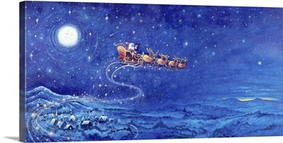 Santa's Sleigh over the Village