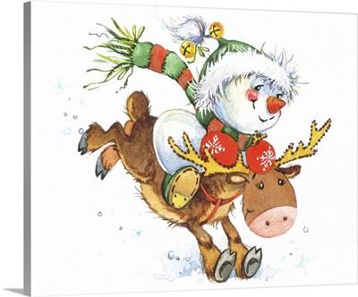 Snowman on a Reindeer