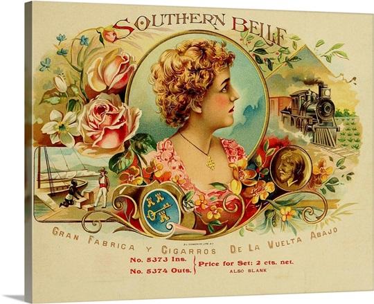 Southern Belle - Vintage Cigar Box Wall Art, Canvas Prints, Framed ...
