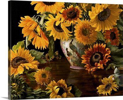 Sunflowers in a White Chinese Vase