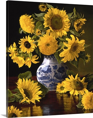 Sunflowers in Blue and White Chinese Vase