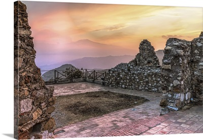 Sunset, in a stone patio, outdoors, mountains