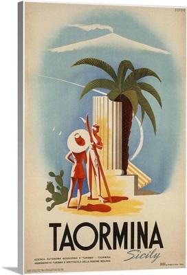 Taormina, Sicily - Vintage Travel Advertisement