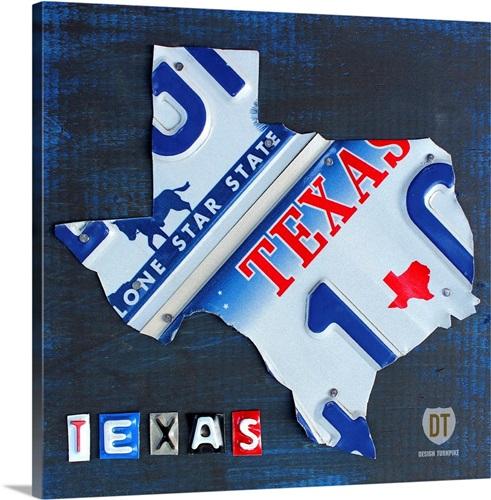 Texas License Plate Map Wall Art, Canvas Prints, Framed Prints, Wall ...
